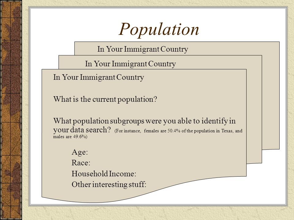 Population In Your Immigrant Country In Your Immigrant Country