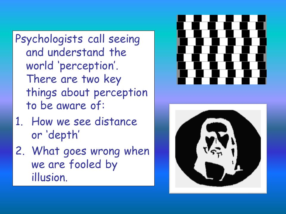 Psychologists call seeing and understand the world 'perception'
