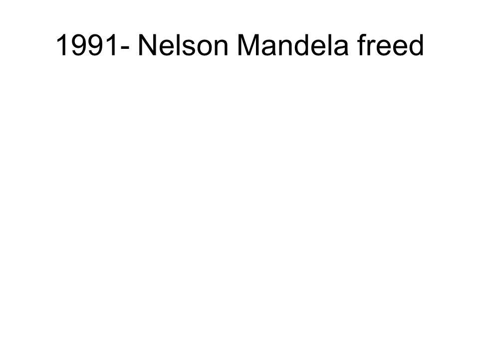 1991- Nelson Mandela freed
