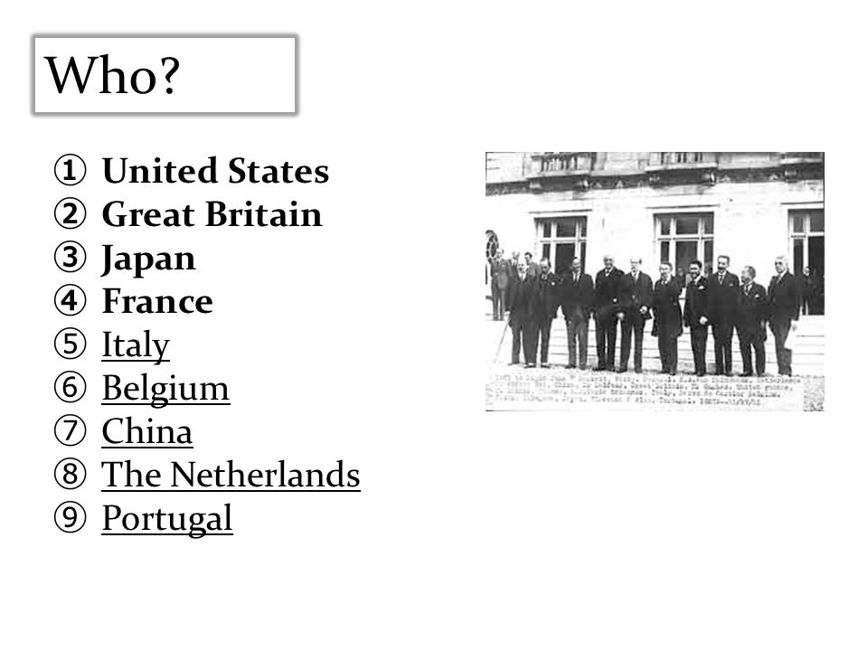 Who United States Great Britain Japan France Italy Belgium China