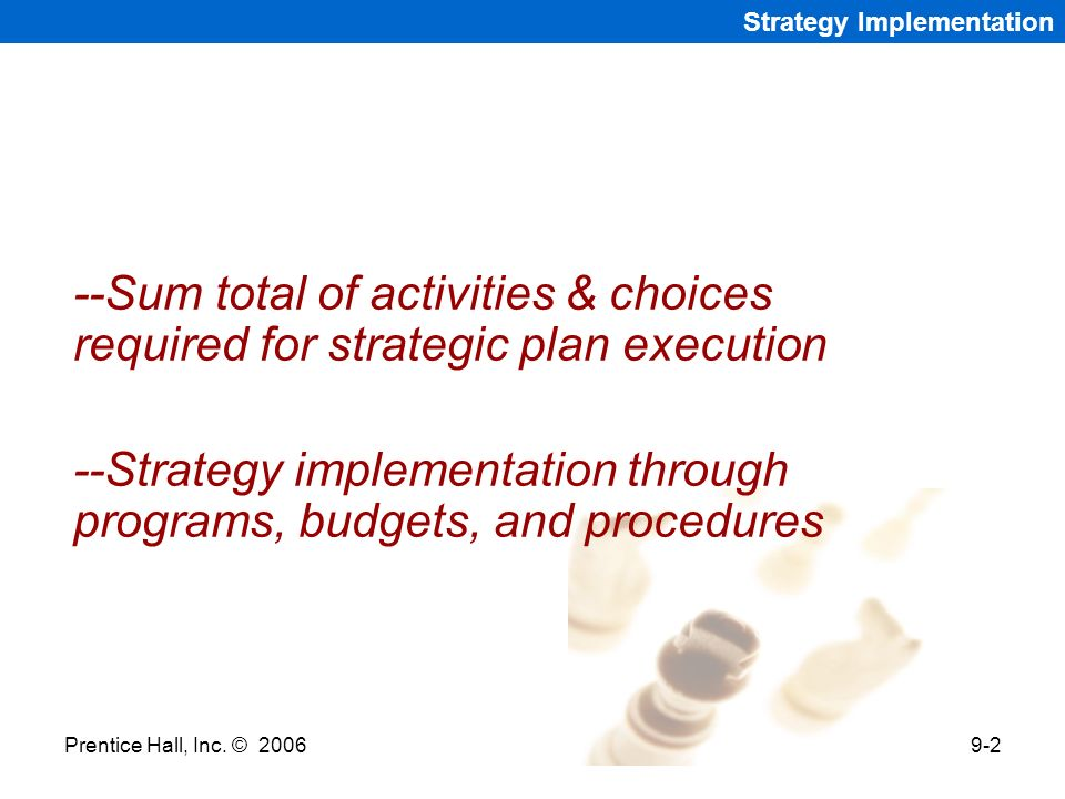 --Strategy implementation through programs, budgets, and procedures