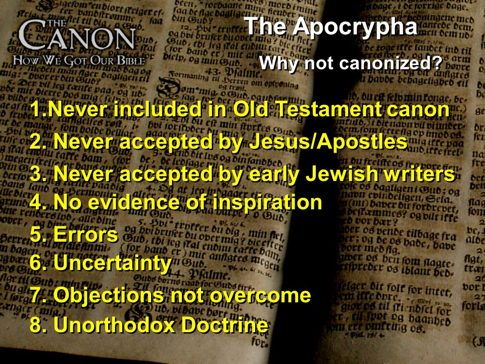 The Apocrypha Never included in Old Testament canon
