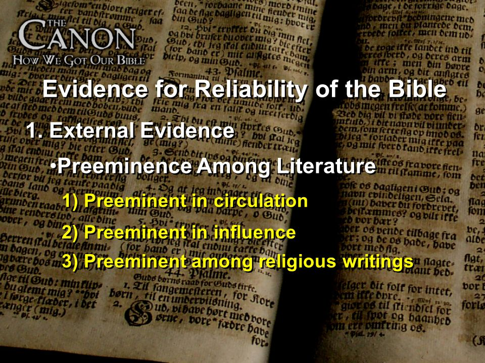 Evidence for Reliability of the Bible