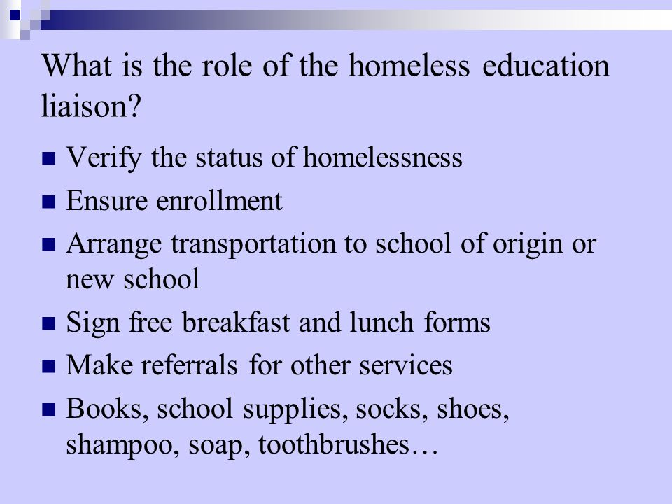 What is the role of the homeless education liaison