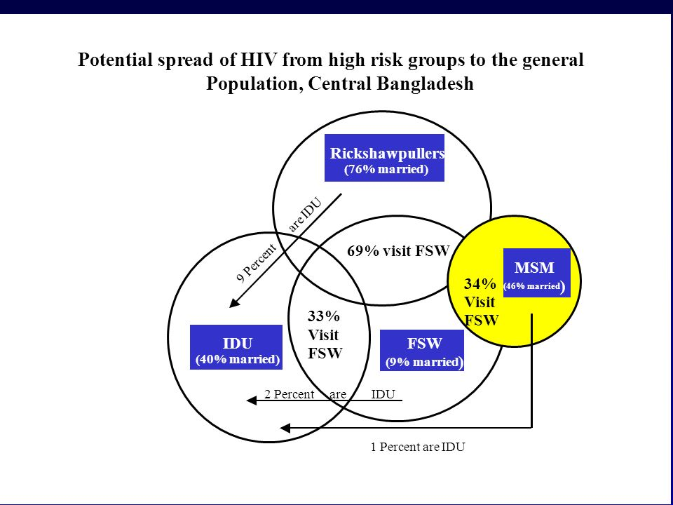 Potential spread of HIV from high risk groups to the general