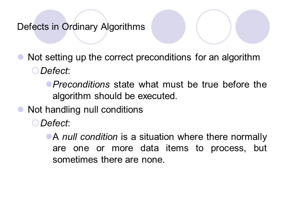 Defects in Ordinary Algorithms