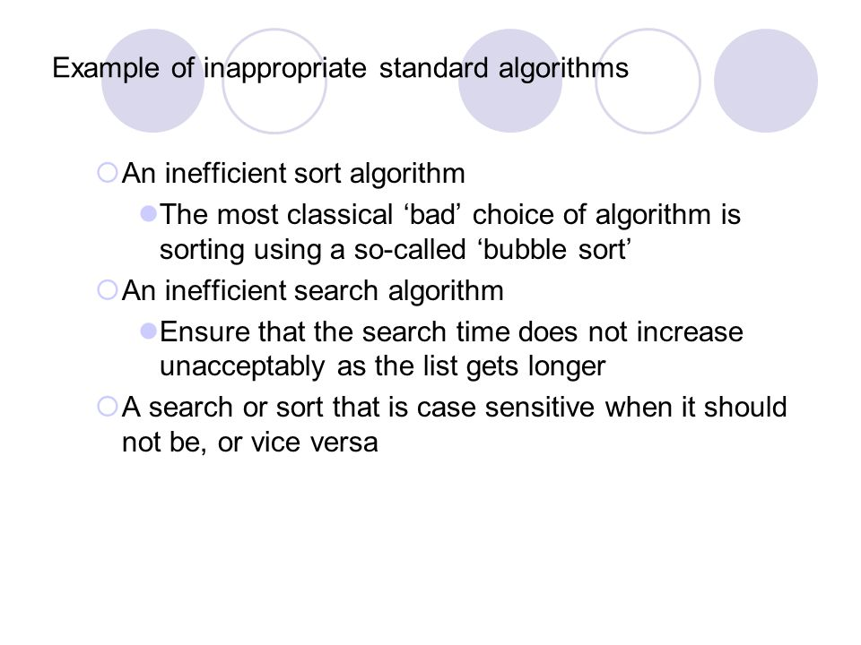 Example of inappropriate standard algorithms