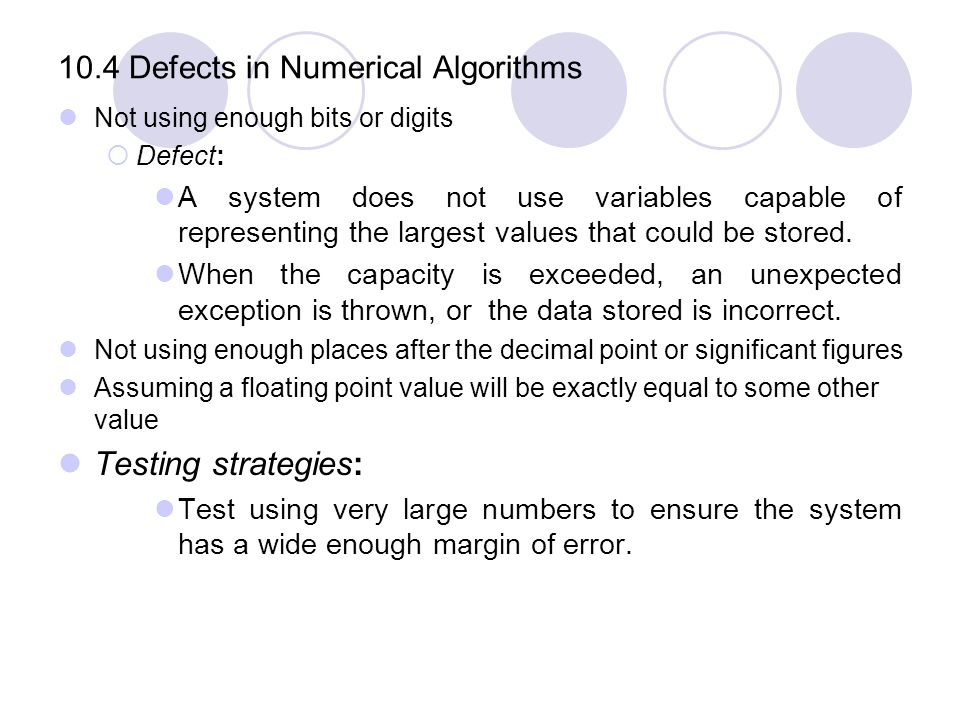 10.4 Defects in Numerical Algorithms