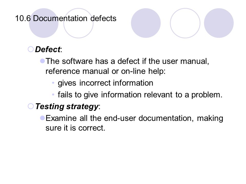 10.6 Documentation defects