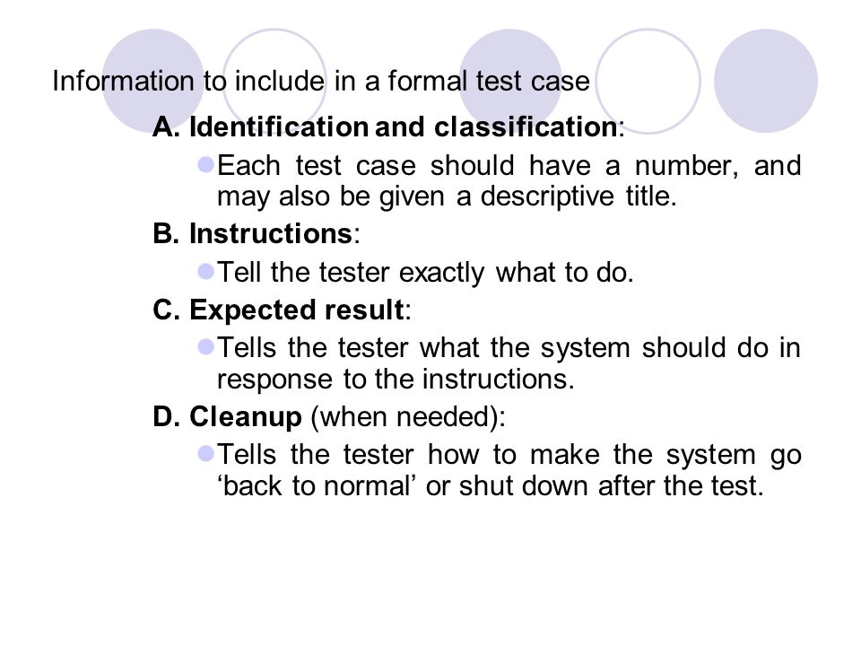 Information to include in a formal test case
