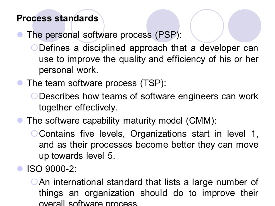 Process standards The personal software process (PSP):