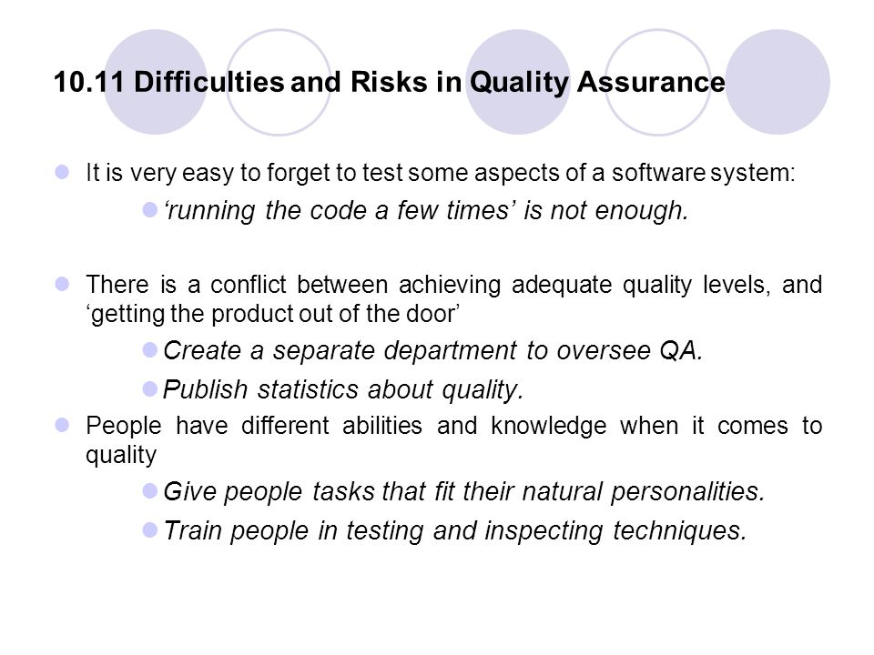 10.11 Difficulties and Risks in Quality Assurance