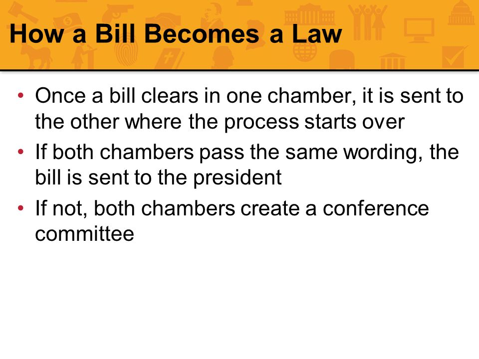 How a Bill Becomes a Law Once a bill clears in one chamber, it is sent to the other where the process starts over.