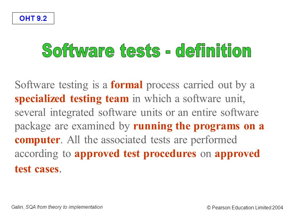 Software tests - definition