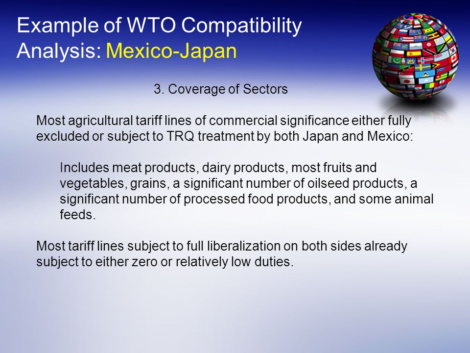 Example of WTO Compatibility Analysis: Mexico-Japan