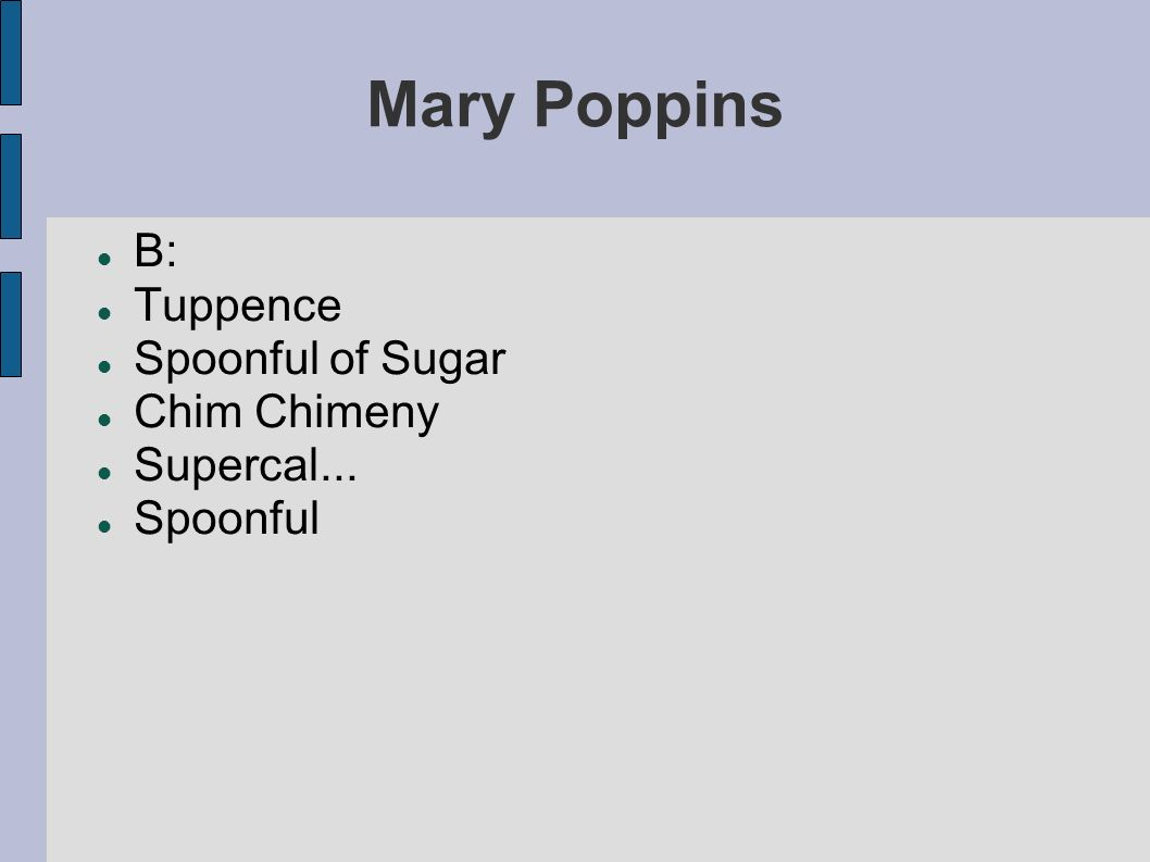 Mary Poppins B: Tuppence Spoonful of Sugar Chim Chimeny Supercal...