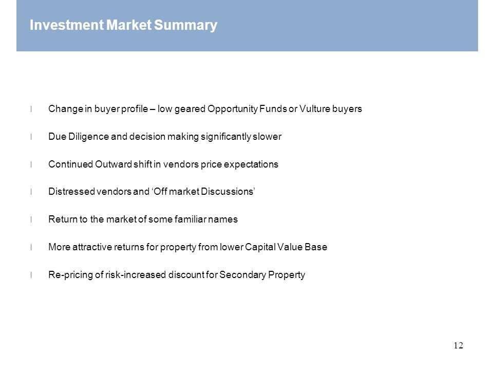 Investment Market Summary