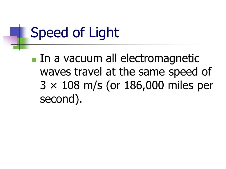Speed of Light In a vacuum all electromagnetic waves travel at the same speed of 3 × 108 m/s (or 186,000 miles per second).