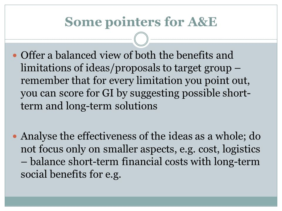 Some pointers for A&E