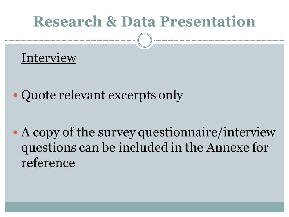 Research & Data Presentation