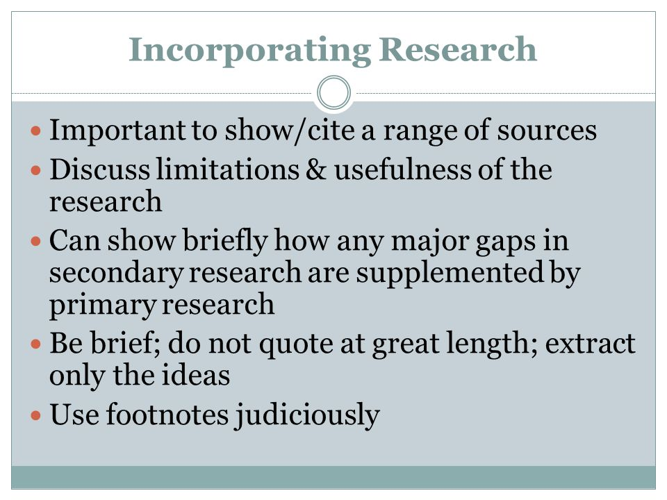 Incorporating Research