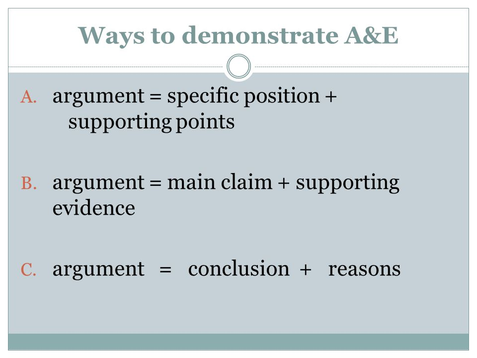 Ways to demonstrate A&E
