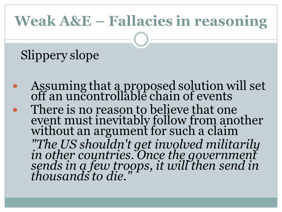 Weak A&E – Fallacies in reasoning