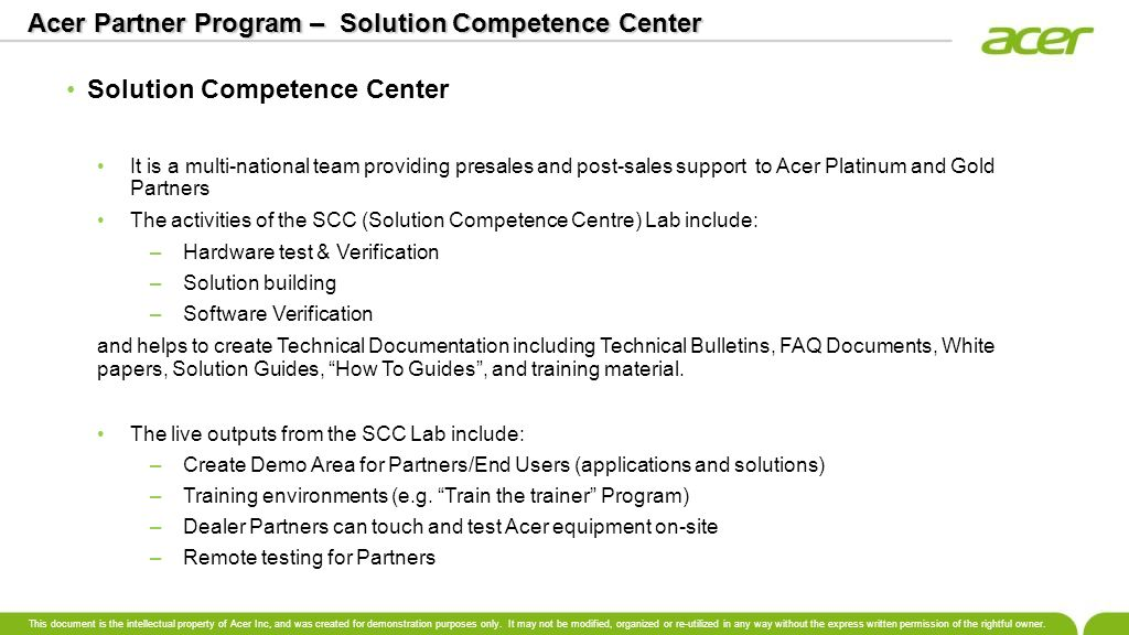 Acer Partner Program – Solution Competence Center