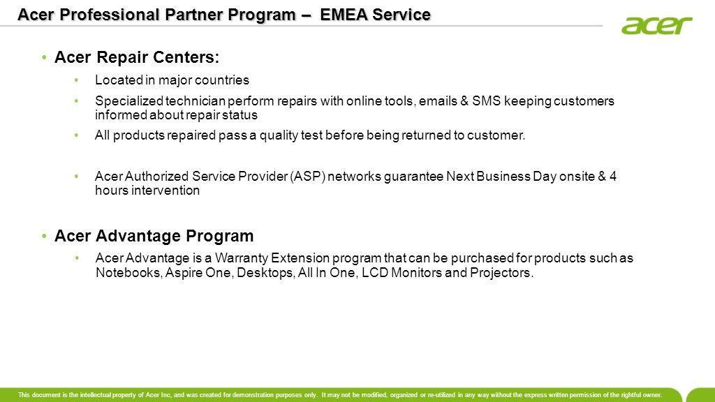 Acer Professional Partner Program – EMEA Service