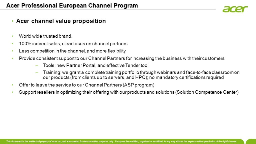 Acer Professional European Channel Program