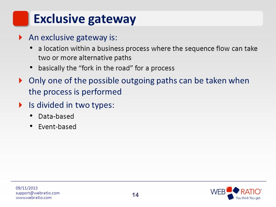 Exclusive gateway An exclusive gateway is: