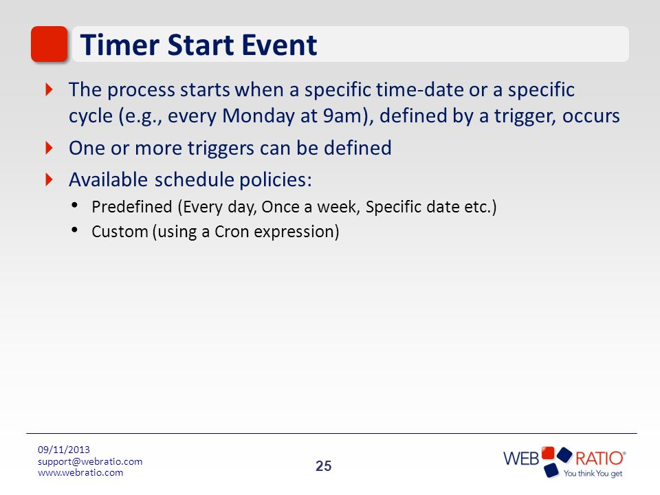 Timer Start Event The process starts when a specific time-date or a specific cycle (e.g., every Monday at 9am), defined by a trigger, occurs.