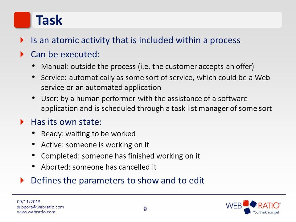 Task Is an atomic activity that is included within a process