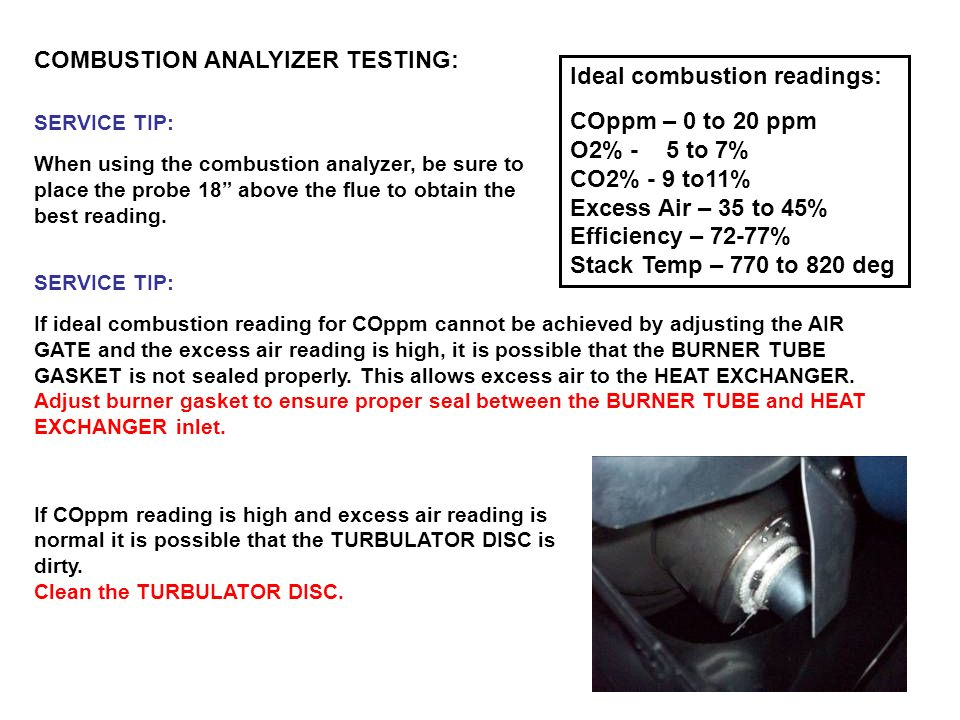 COMBUSTION ANALYIZER TESTING: Ideal combustion readings:
