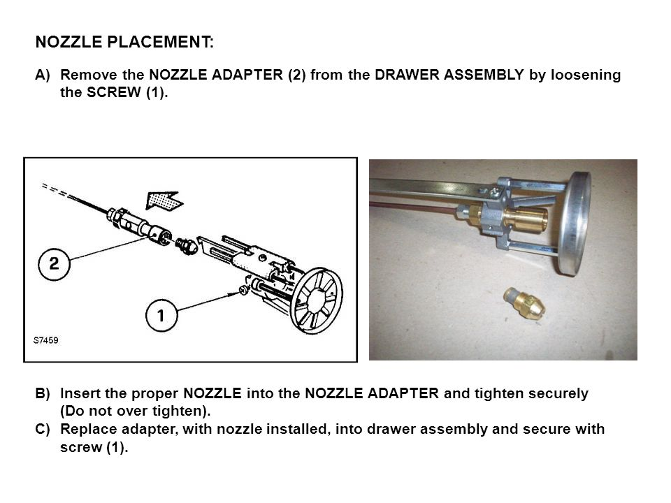 NOZZLE PLACEMENT: Remove the NOZZLE ADAPTER (2) from the DRAWER ASSEMBLY by loosening. the SCREW (1).