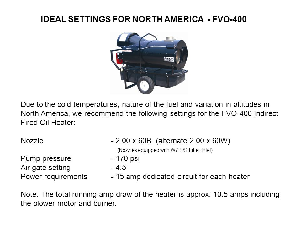 IDEAL SETTINGS FOR NORTH AMERICA - FVO-400