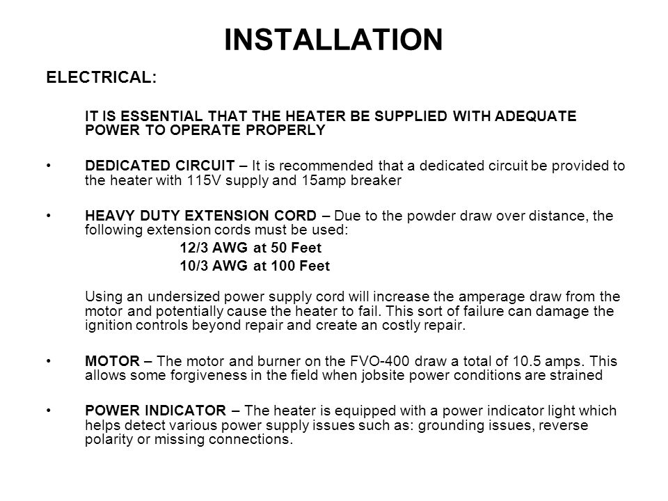 INSTALLATION ELECTRICAL: