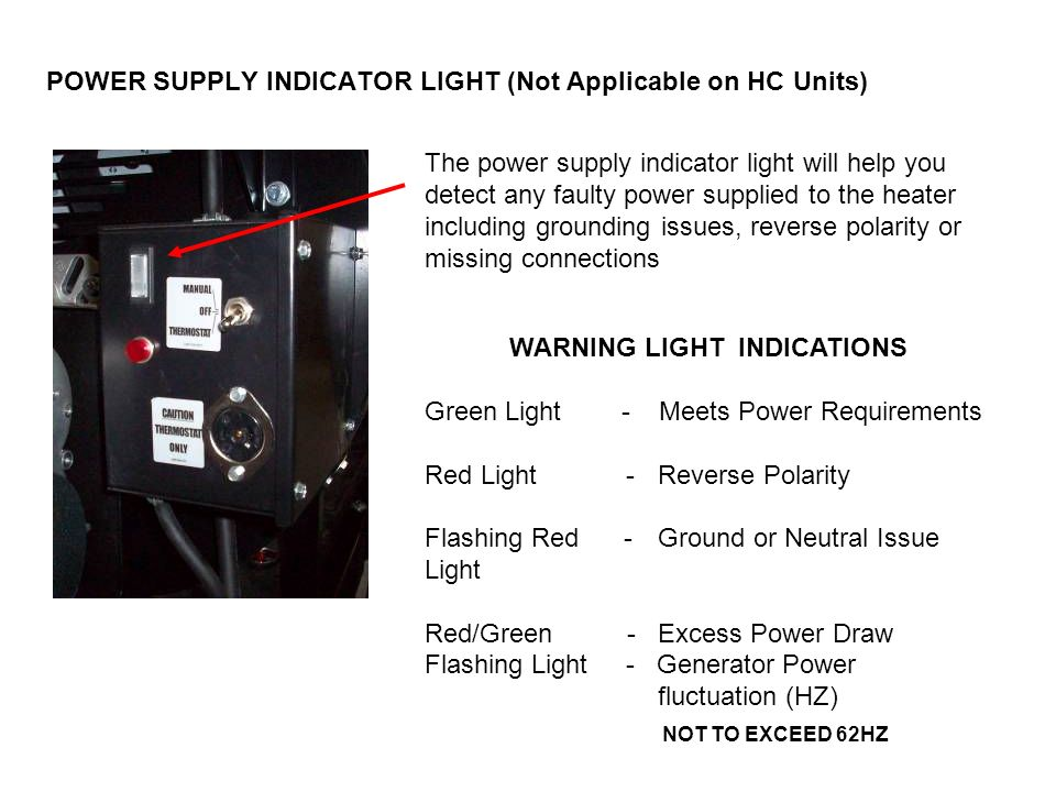 POWER SUPPLY INDICATOR LIGHT (Not Applicable on HC Units)