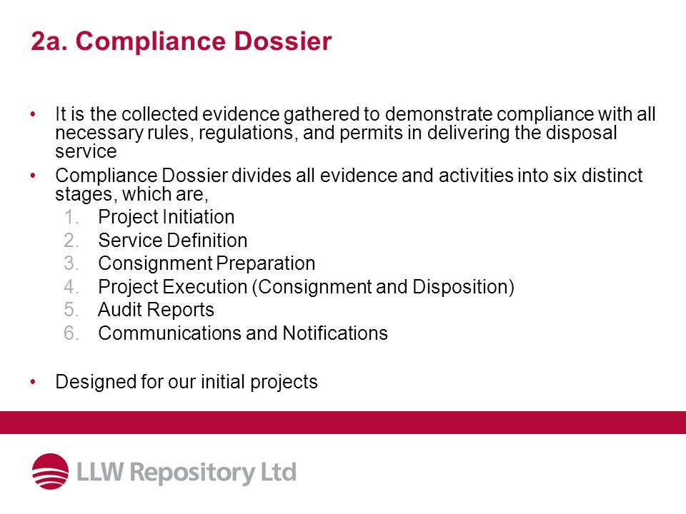 2a. Compliance Dossier