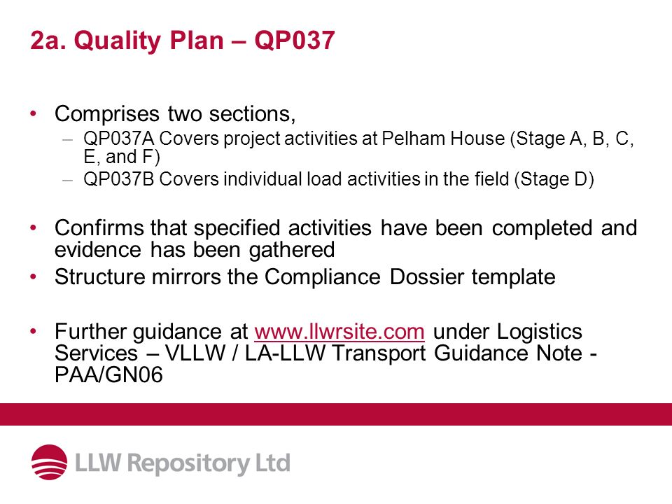 2a. Quality Plan – QP037 Comprises two sections,