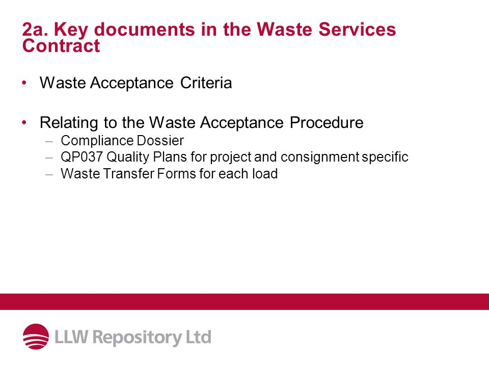 2a. Key documents in the Waste Services Contract