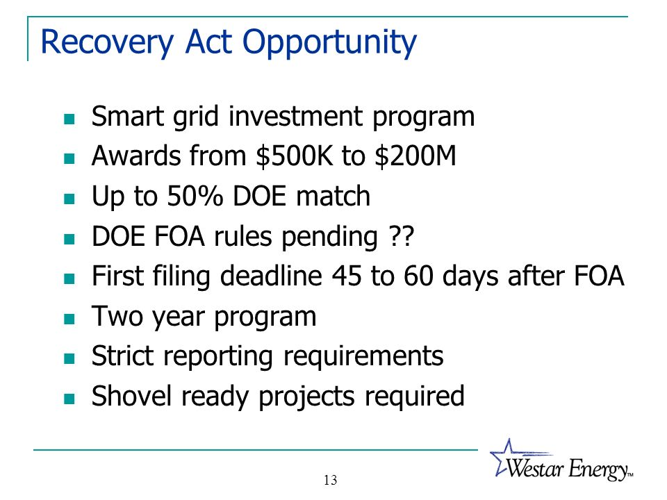 Recovery Act Opportunity