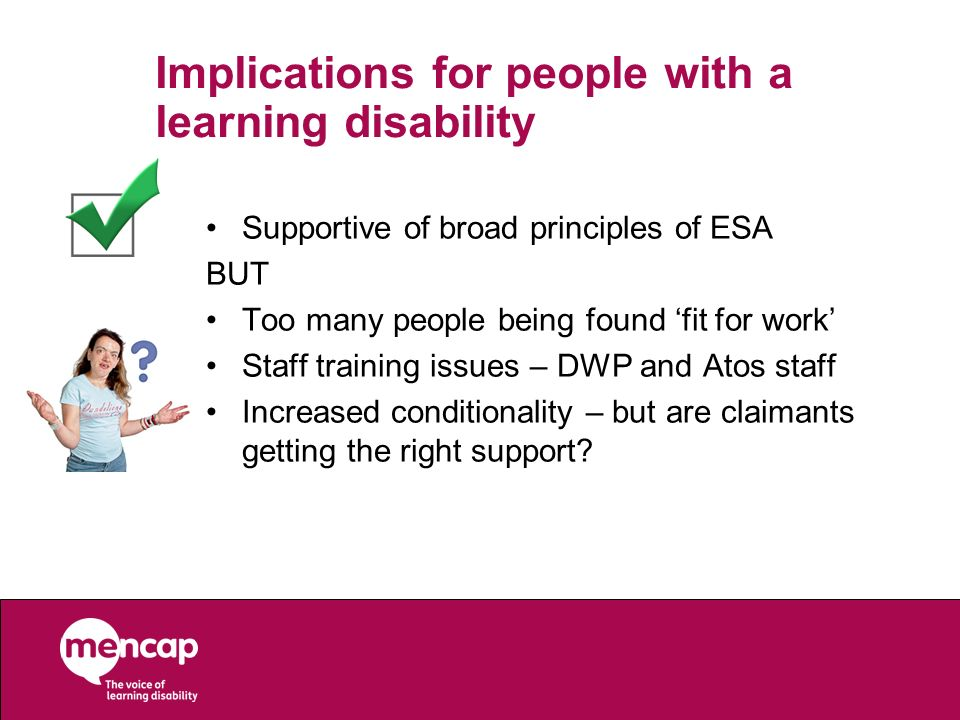 Implications for people with a learning disability