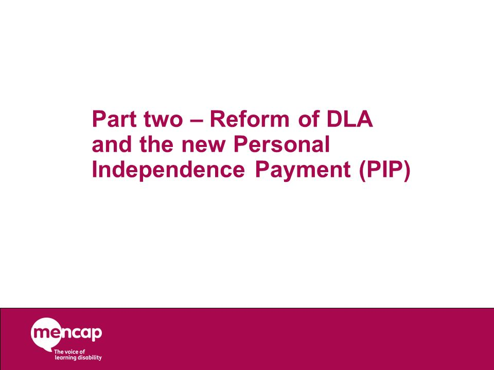 Part two – Reform of DLA and the new Personal Independence Payment (PIP)