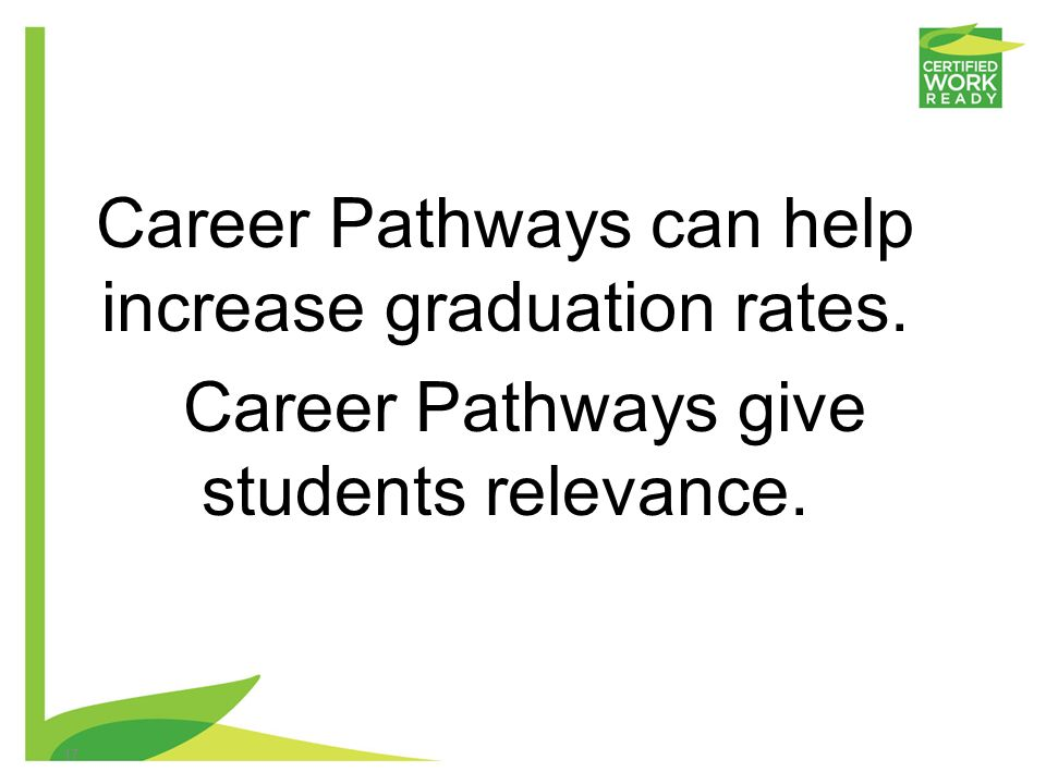 Career Pathways can help increase graduation rates.