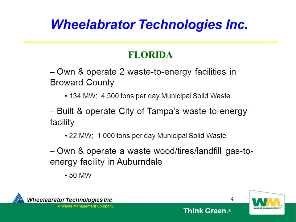 Wheelabrator Technologies Inc. A Waste Management Company