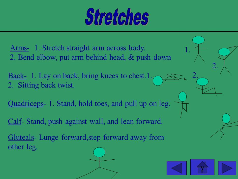 Stretches Arms- 1. Stretch straight arm across body. 1.