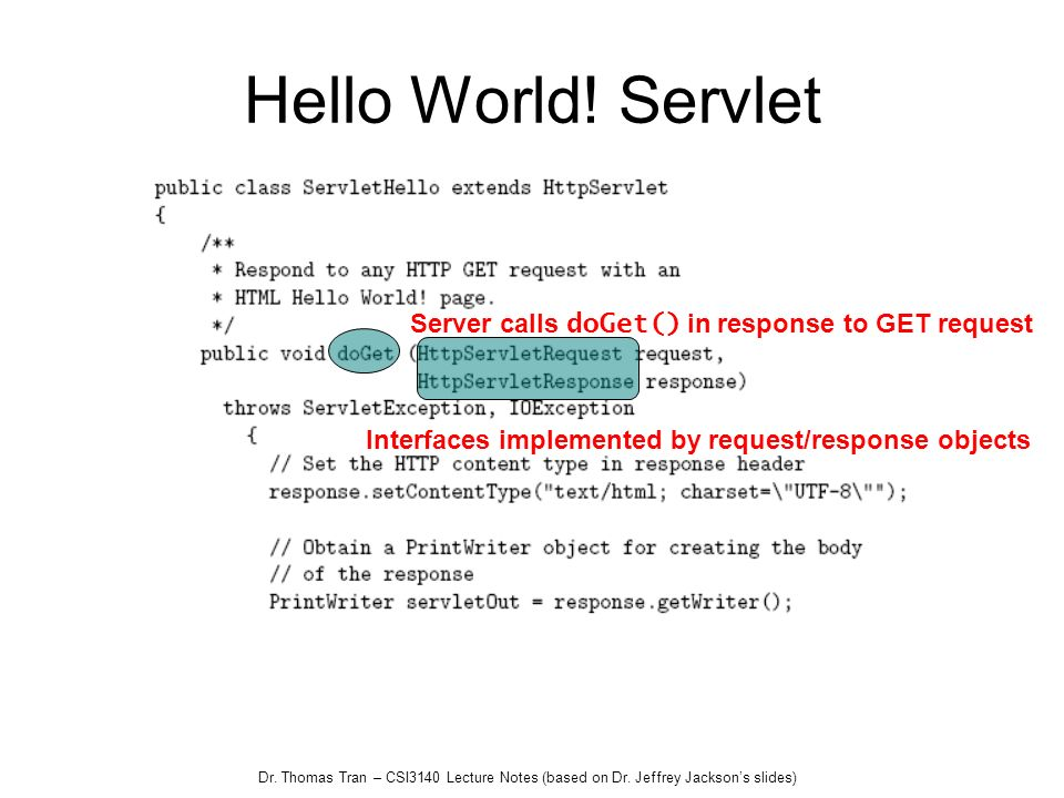 Hello World! Servlet Server calls doGet() in response to GET request