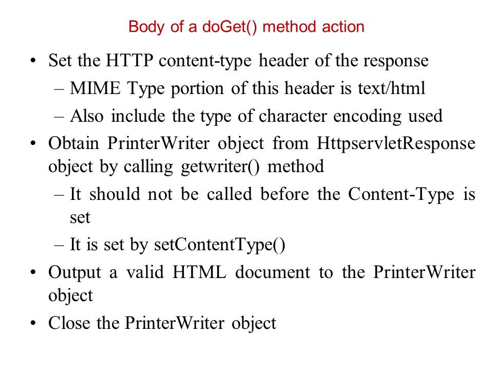 Body of a doGet() method action