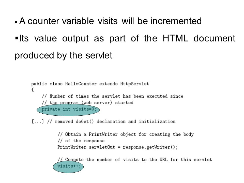 Its value output as part of the HTML document produced by the servlet